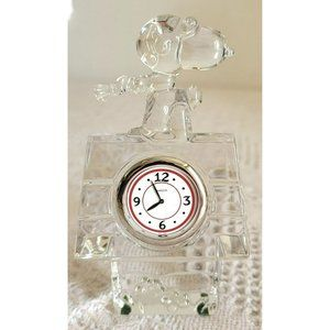 Waterford Crystal Marquis Snoopy Red Baron Desk Clock Paperweight Decor LC607